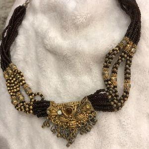 Necklace Choker India beaded burgundy and gold
